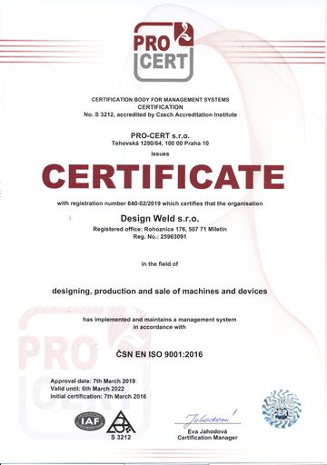 Certificate of quality management system ČSN EN ISO 9001:2016