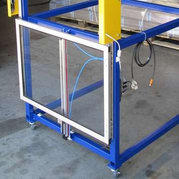 Welding press equipment: shutter to place aside spacious OK parts
